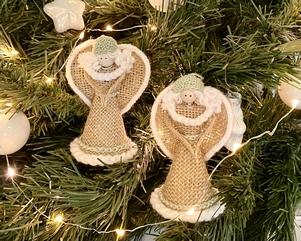 Kerstengeltjes set van 2 | groene mutsje