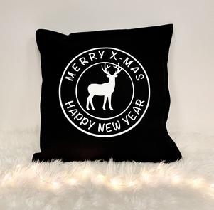 Kerstdecoratie   Kussensloop 'Merry x-mas'   zwart/wit
