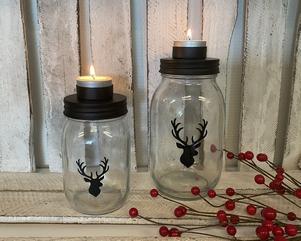 "Theelichthouder glazen pot ""hert"" | kerstdecoratie"