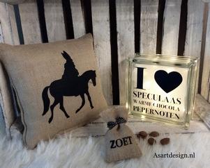 Sinterklaas decoratie / Jute kussen 'Sinterklaas'