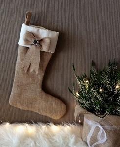 Kerstdecoratie | Jute kerstsok