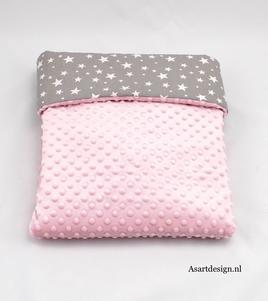 Baby deken katoen/minky | roze/grijs