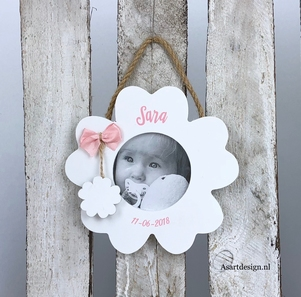 Geboorte fotolijst bloem