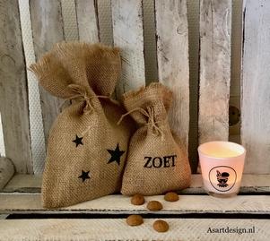 """Sinterklaas decoratie  Jute zakjes""""sterren/zoet"""" (set van 2)"""