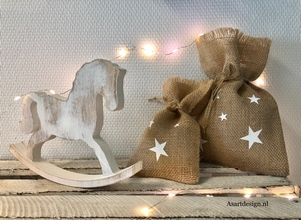 Kerstdecoratie | Set van 2 jute zakjes