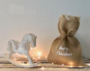 """Jute zakje """"Merry christmas'"""
