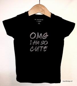 Meisjes T-shirt met glitter opdruk
