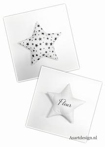 Kussen ster met (wit/zwart)naam en/of geboortedatum