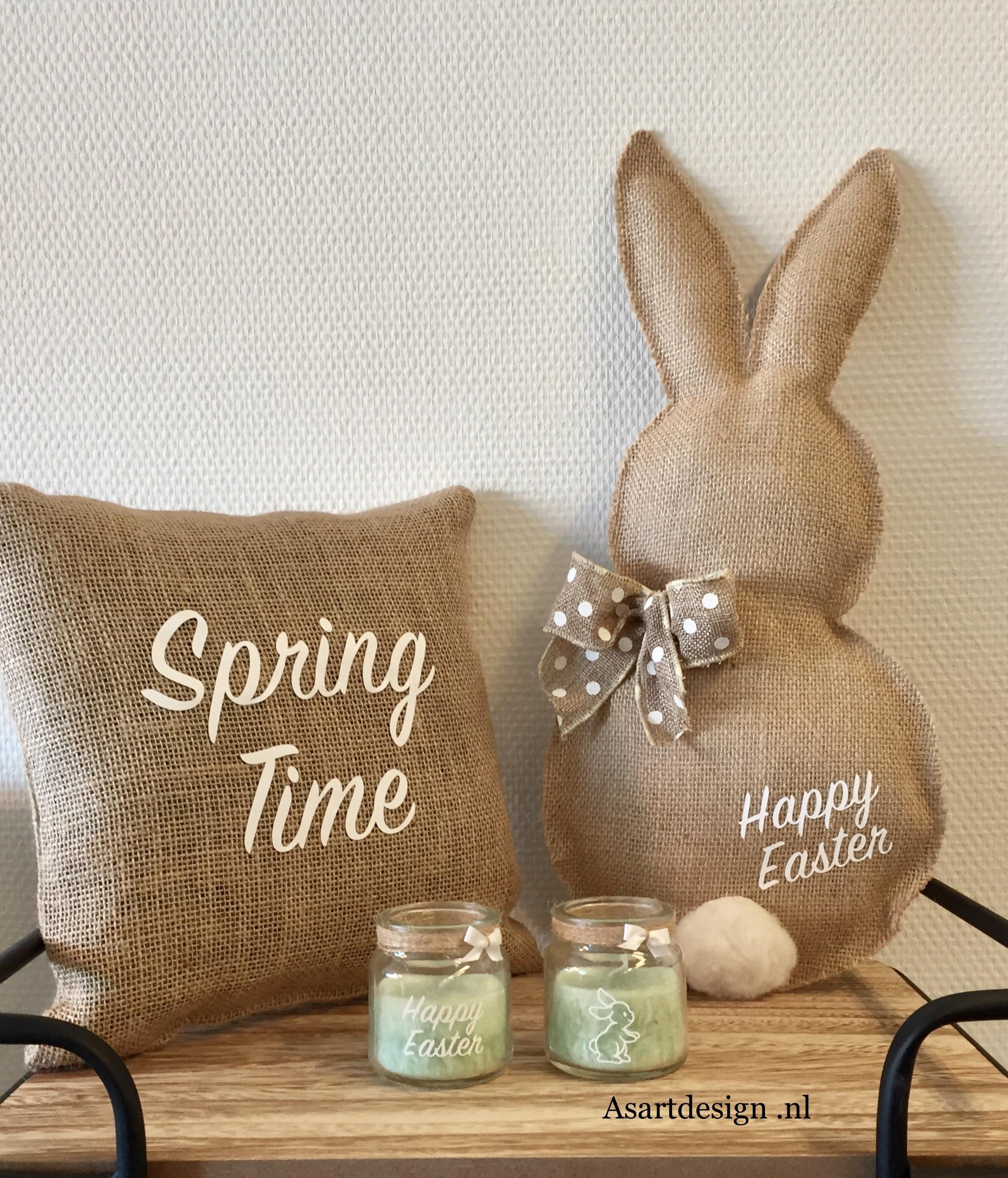 Jute kussen met tekst: spring time