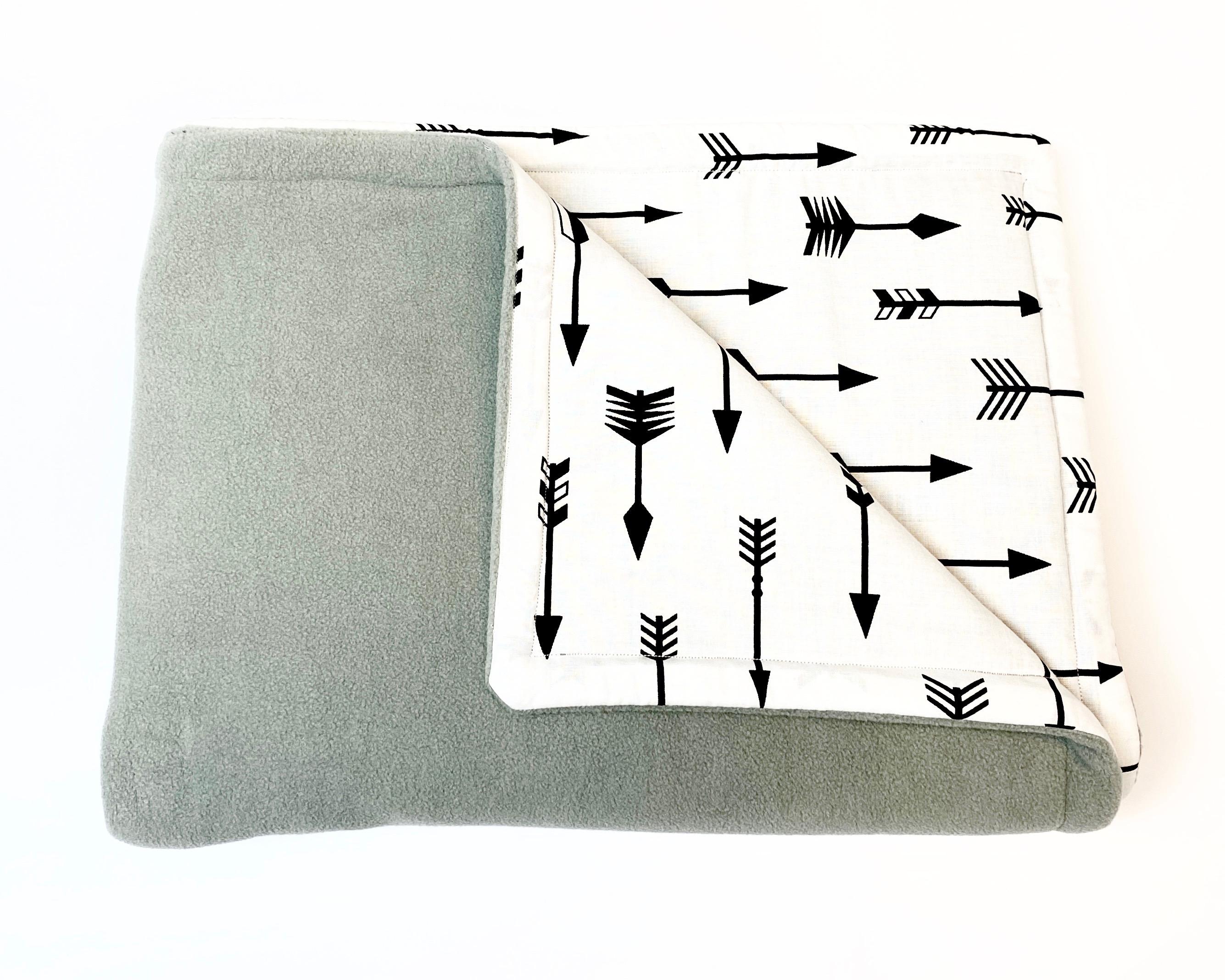 Baby deken katoen/fleece | grijsgroen/wit/zwart