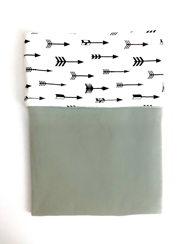 Baby deken katoen/fleece   groengrijs/wit
