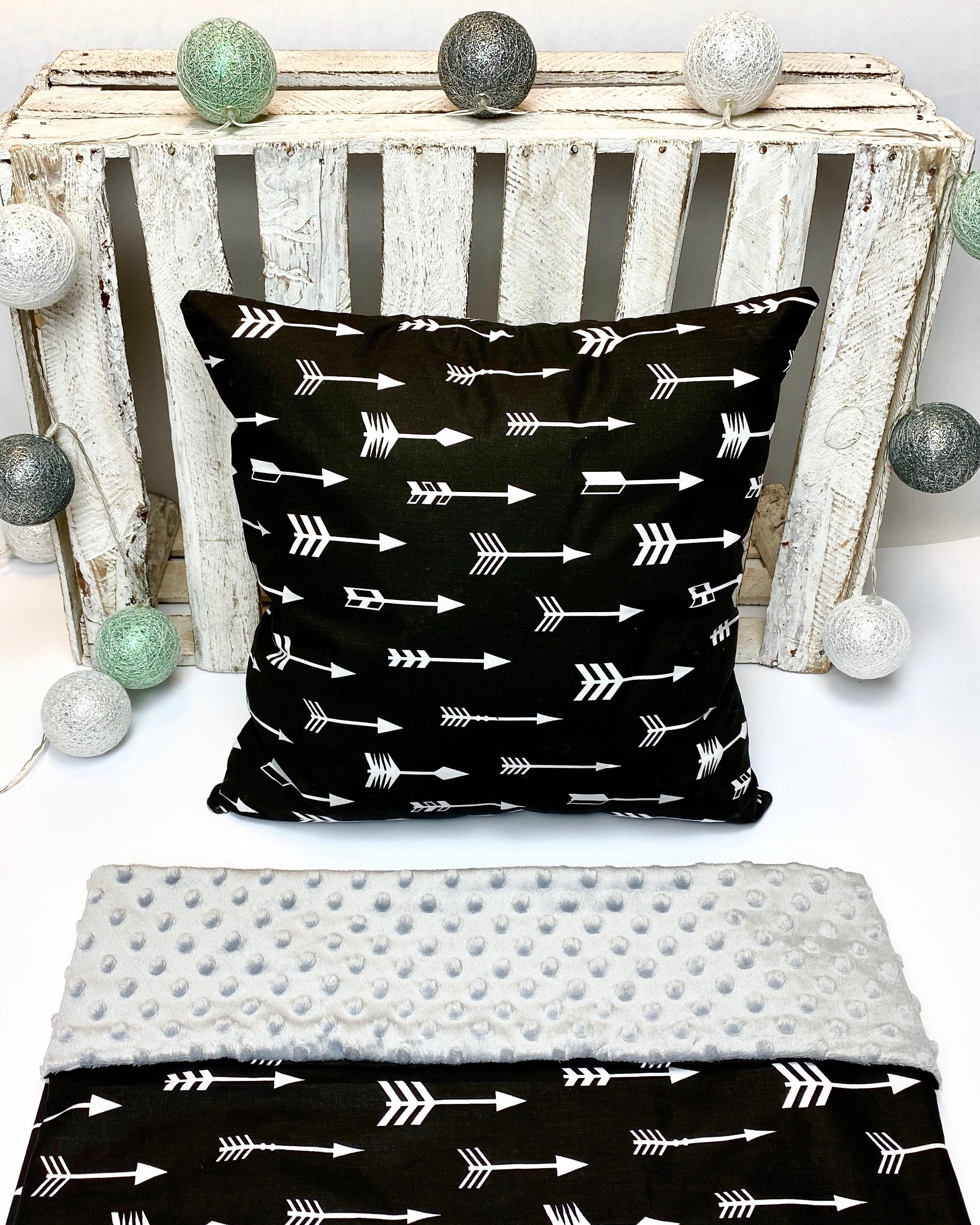 Baby deken katoen/minky | grijs/zwart