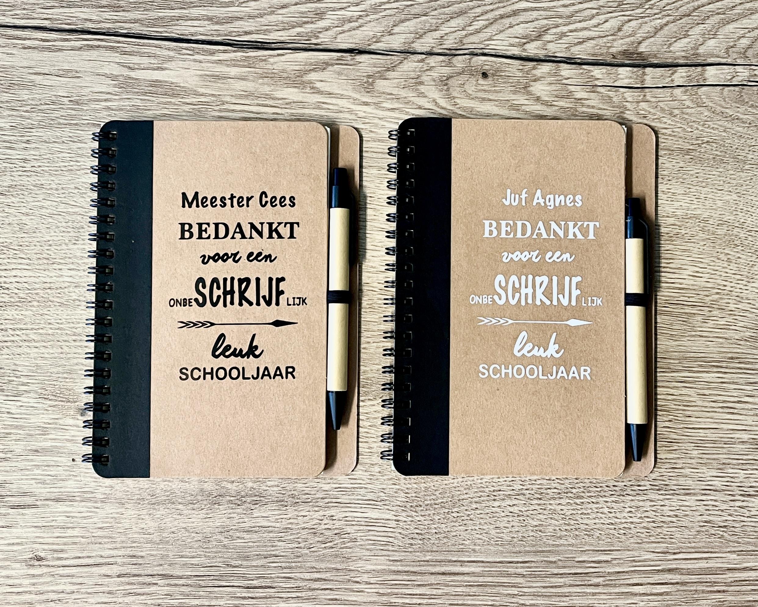 """Bedankt juf/meester """"Gepersonaliseerd notitieboek met pen"""""""
