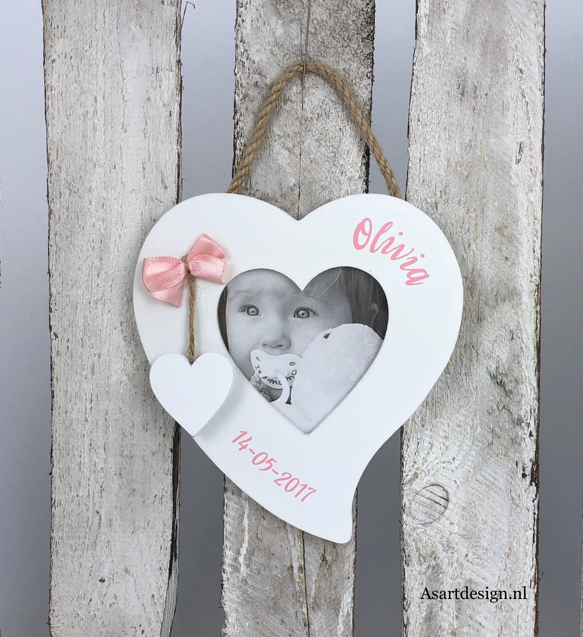 Geboorte fotolijst hart