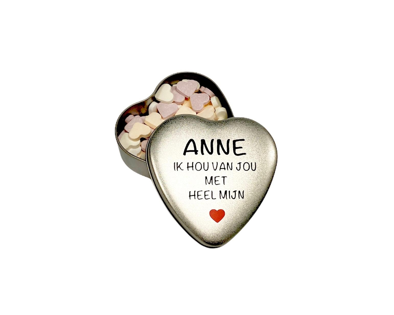 Gepersonaliseerd snoepblikje   Valentijn cadeau