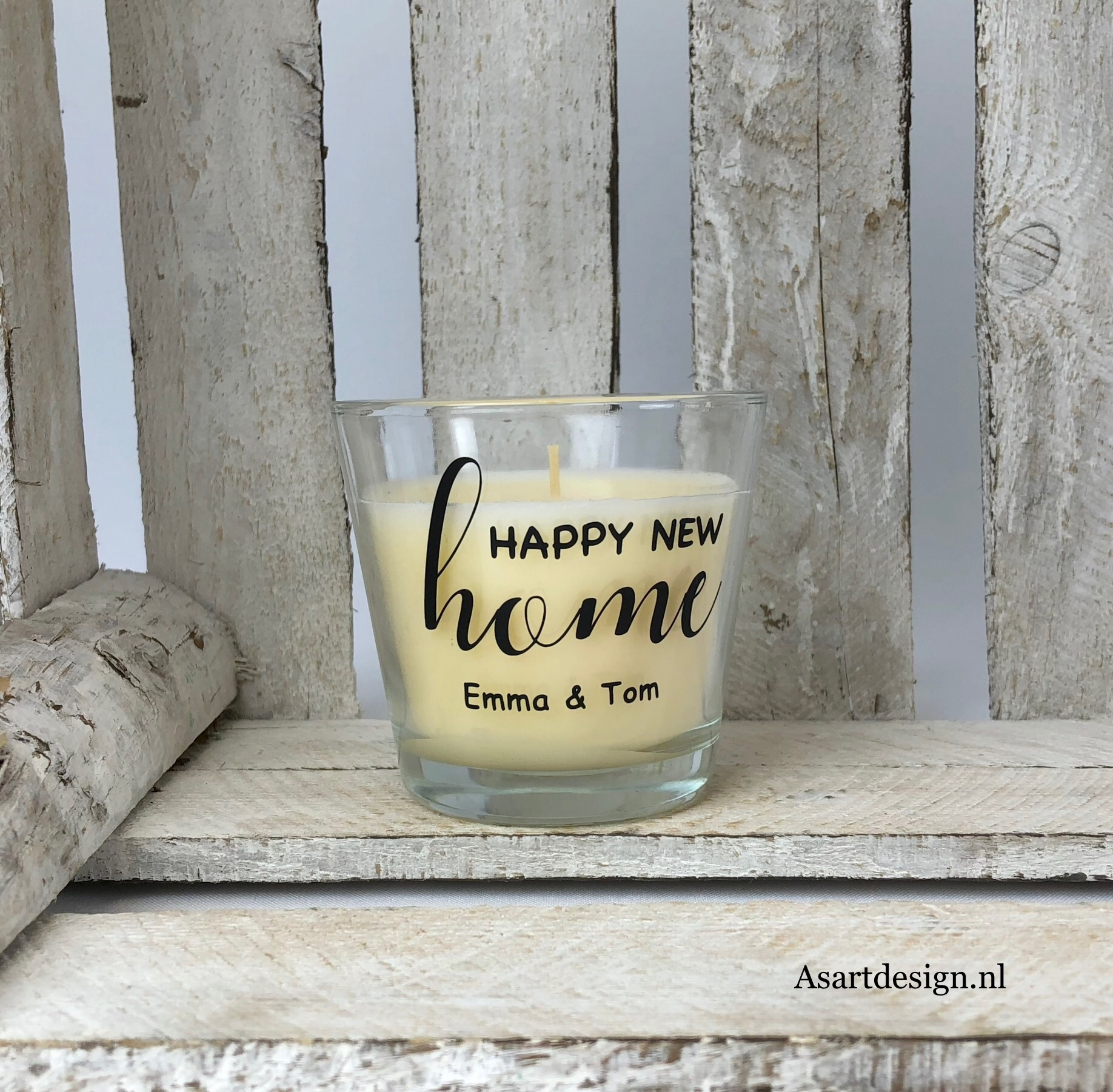 Gepersonaliseerde geurkaars 'Happy new home'