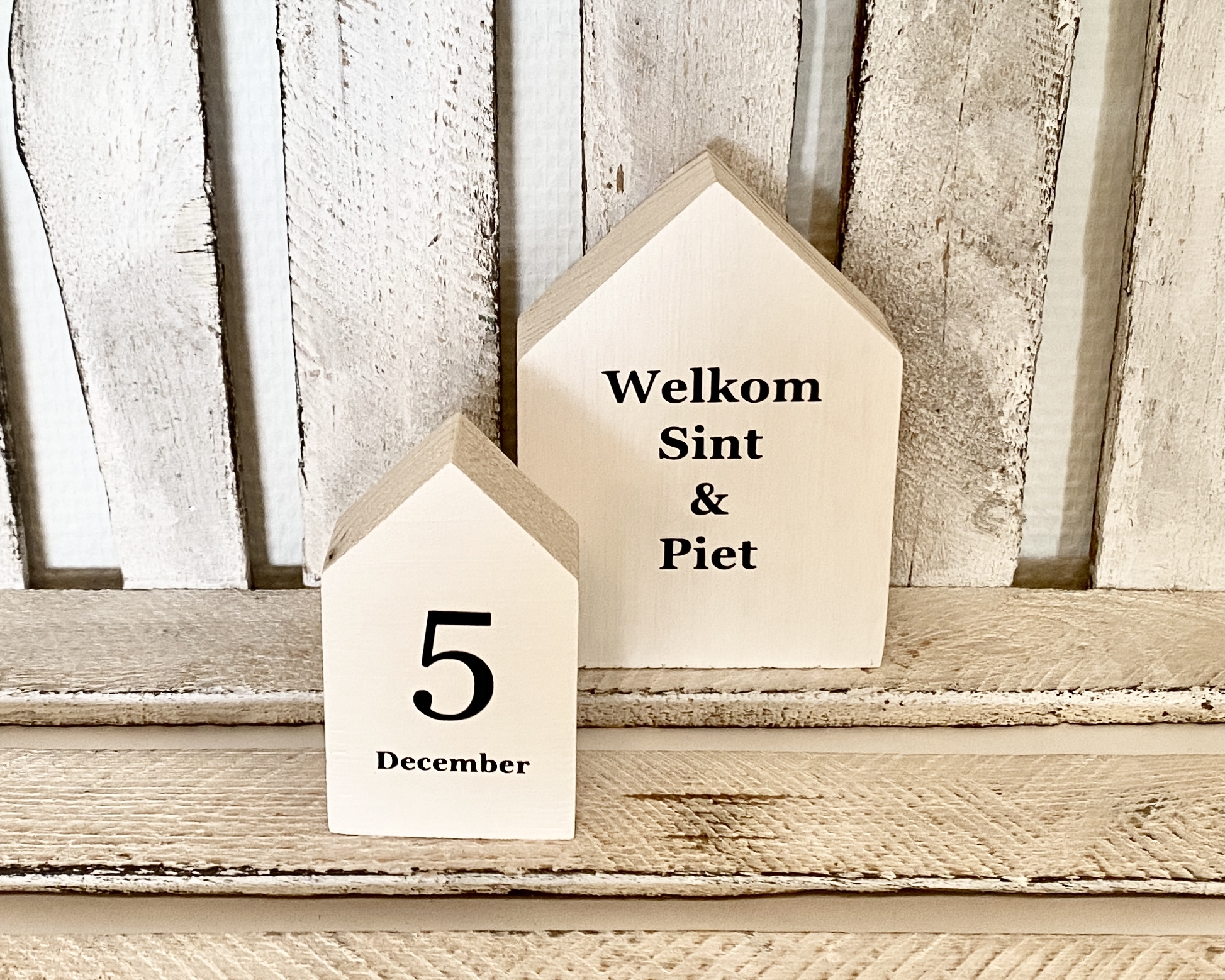 Houten huisjes | Welkom en 5 december (wit)