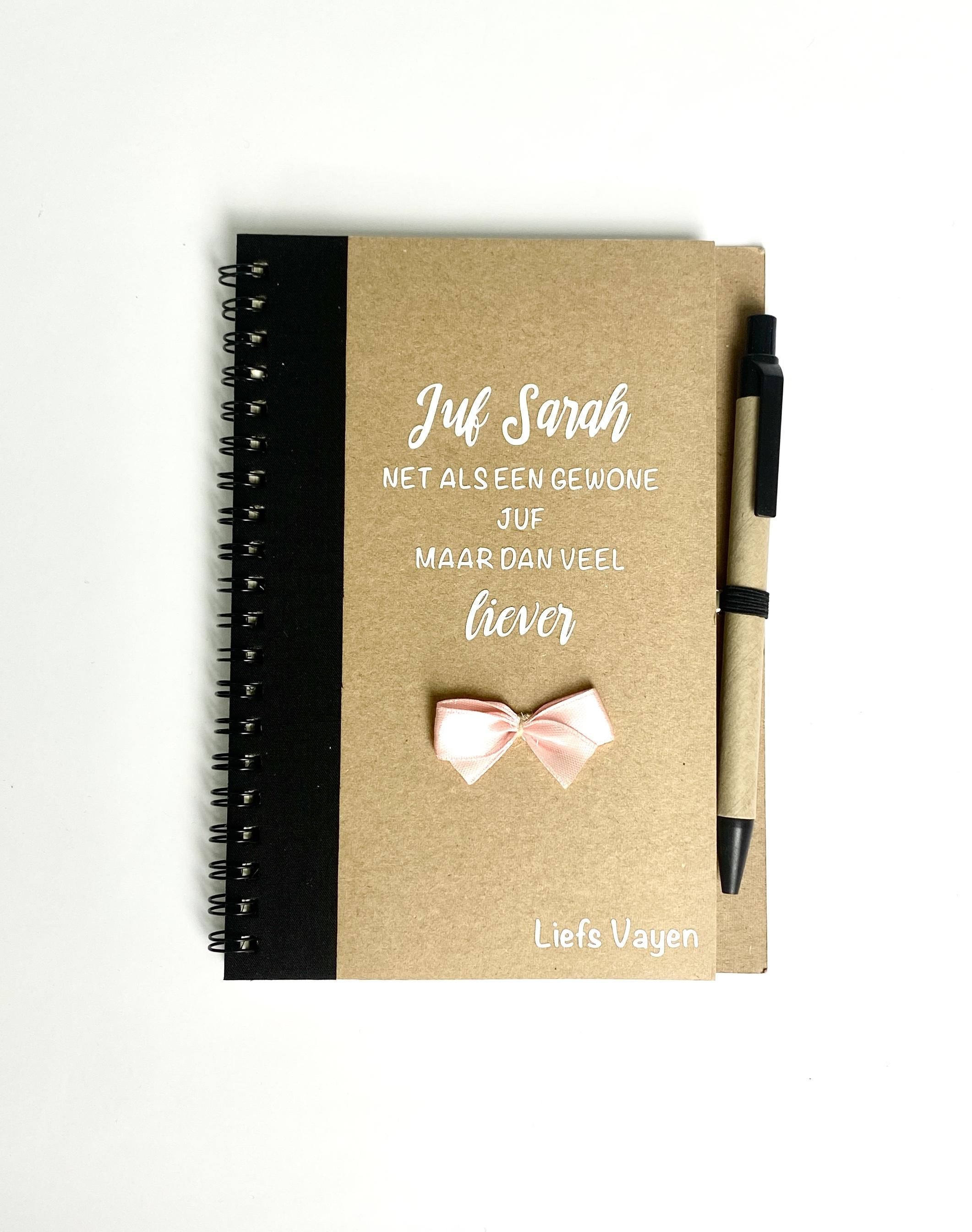 """Juf en meester cadeau """"Gepersonaliseerd notitieboek"""""""
