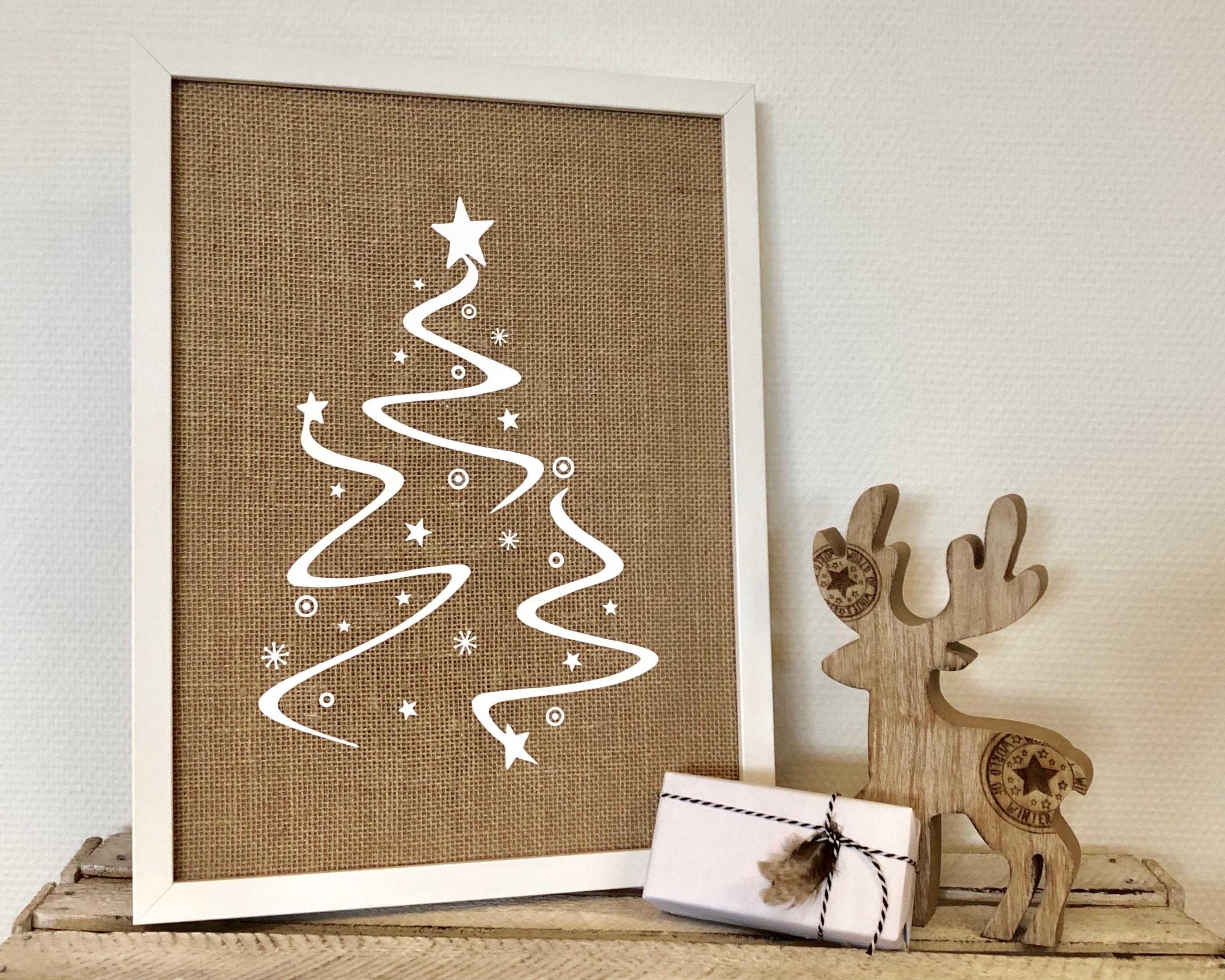 Jute kerstboom poster met LED verlichting (wit)