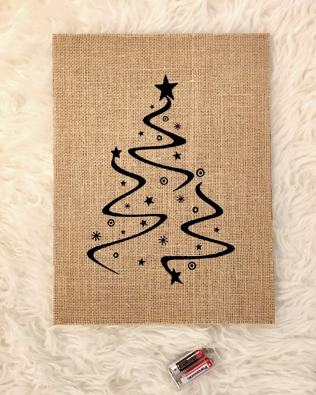 Jute kerstboom poster met LED verlichting (zwart)