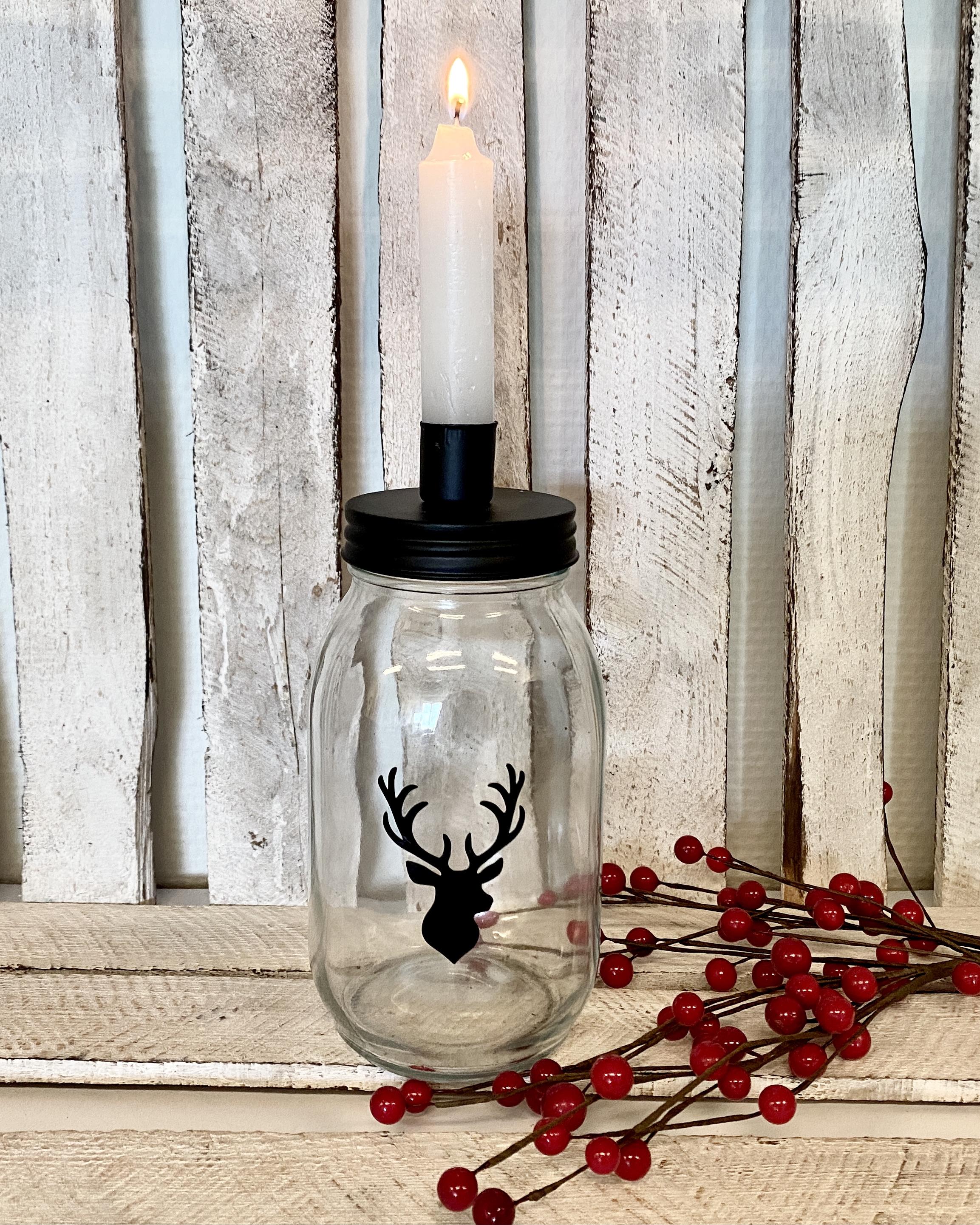 """Kandelaar glazen pot 'hert""""   kerstdecoratie"""