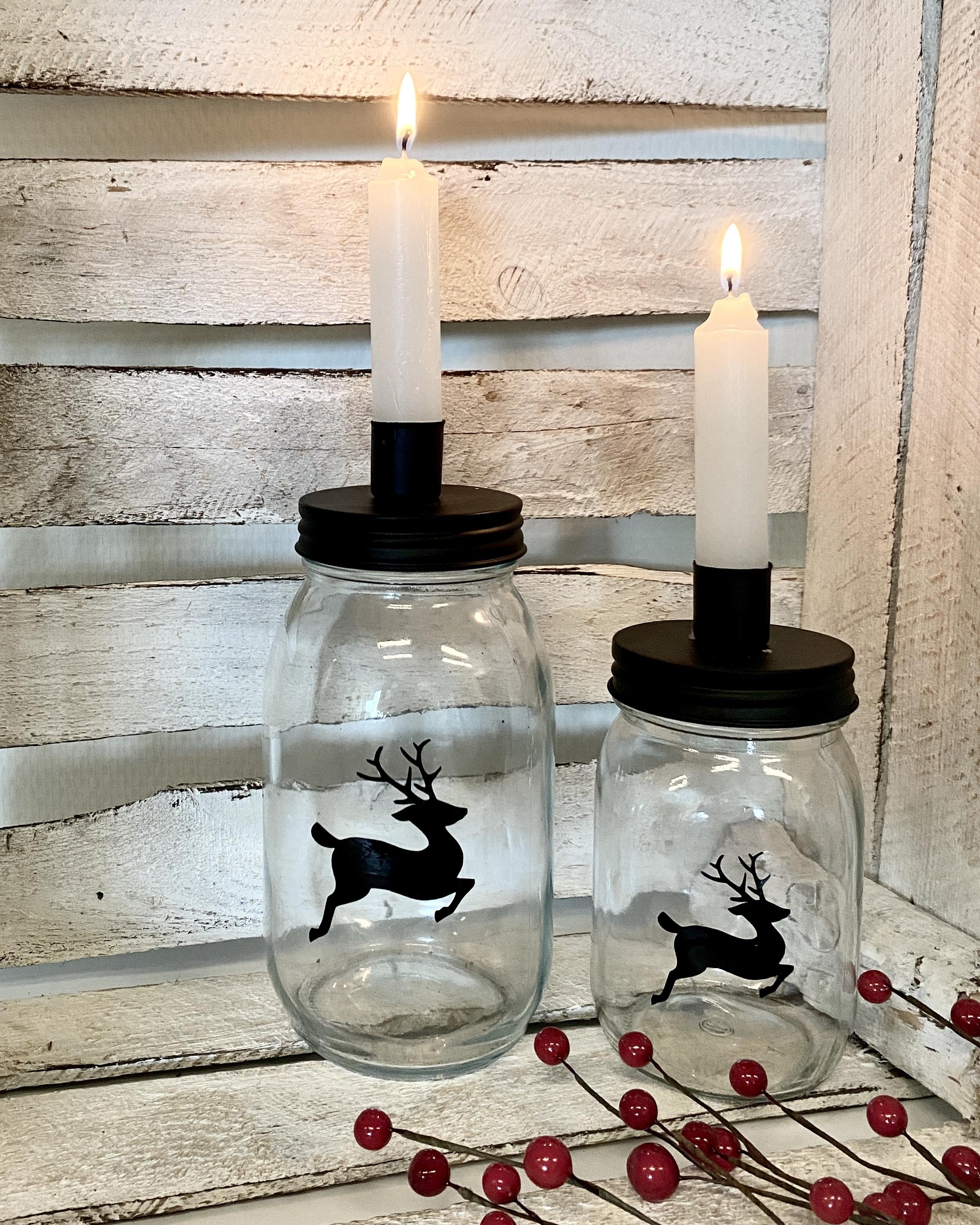 Kandelaar glazen pot kerstdecoratie
