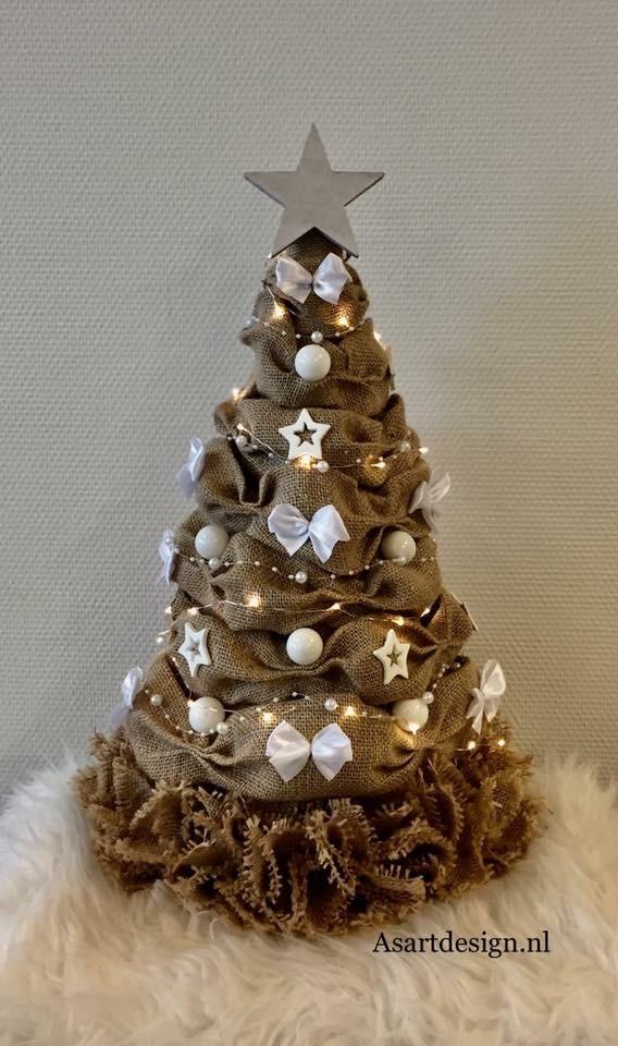 Kerstdecoratie   Jute kerstboom 55 cm