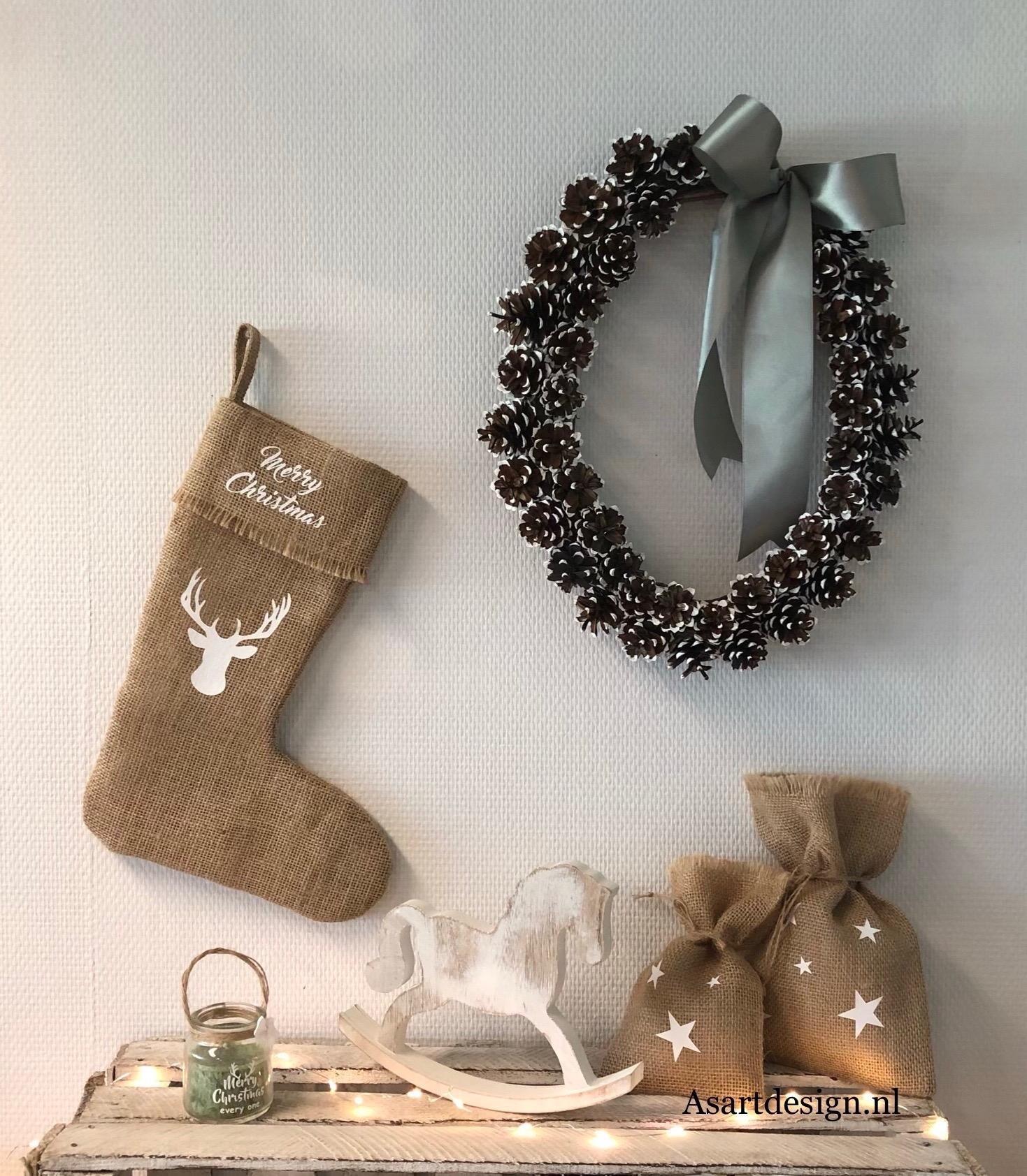 Kerstdecoratie | Jute kerstsok 'Merry christmas'