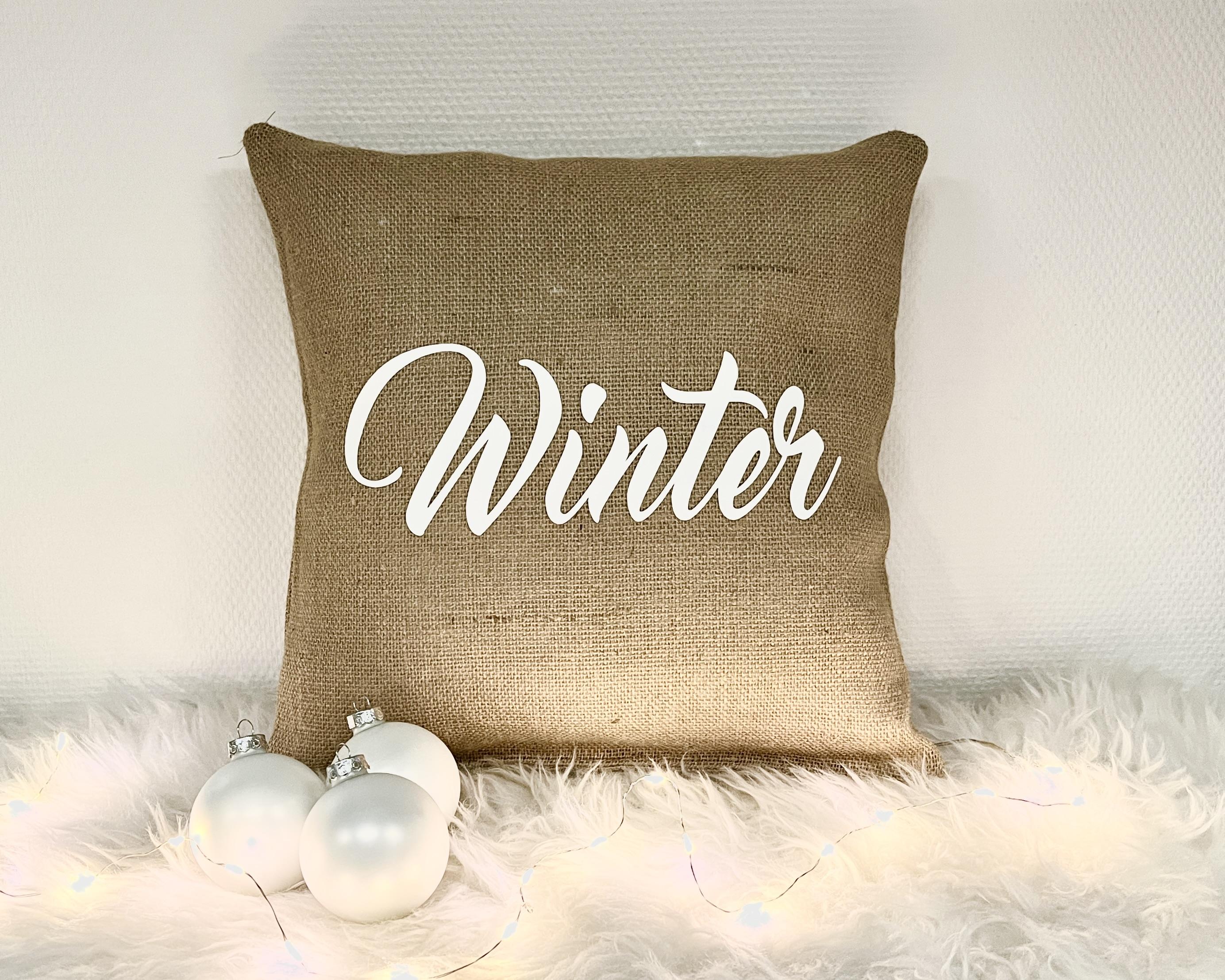 Kerstdecoratie | Jute kussen ' Winter'