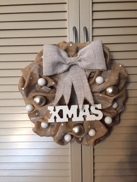 Kerstdecoratie | Kerstkrans van jute