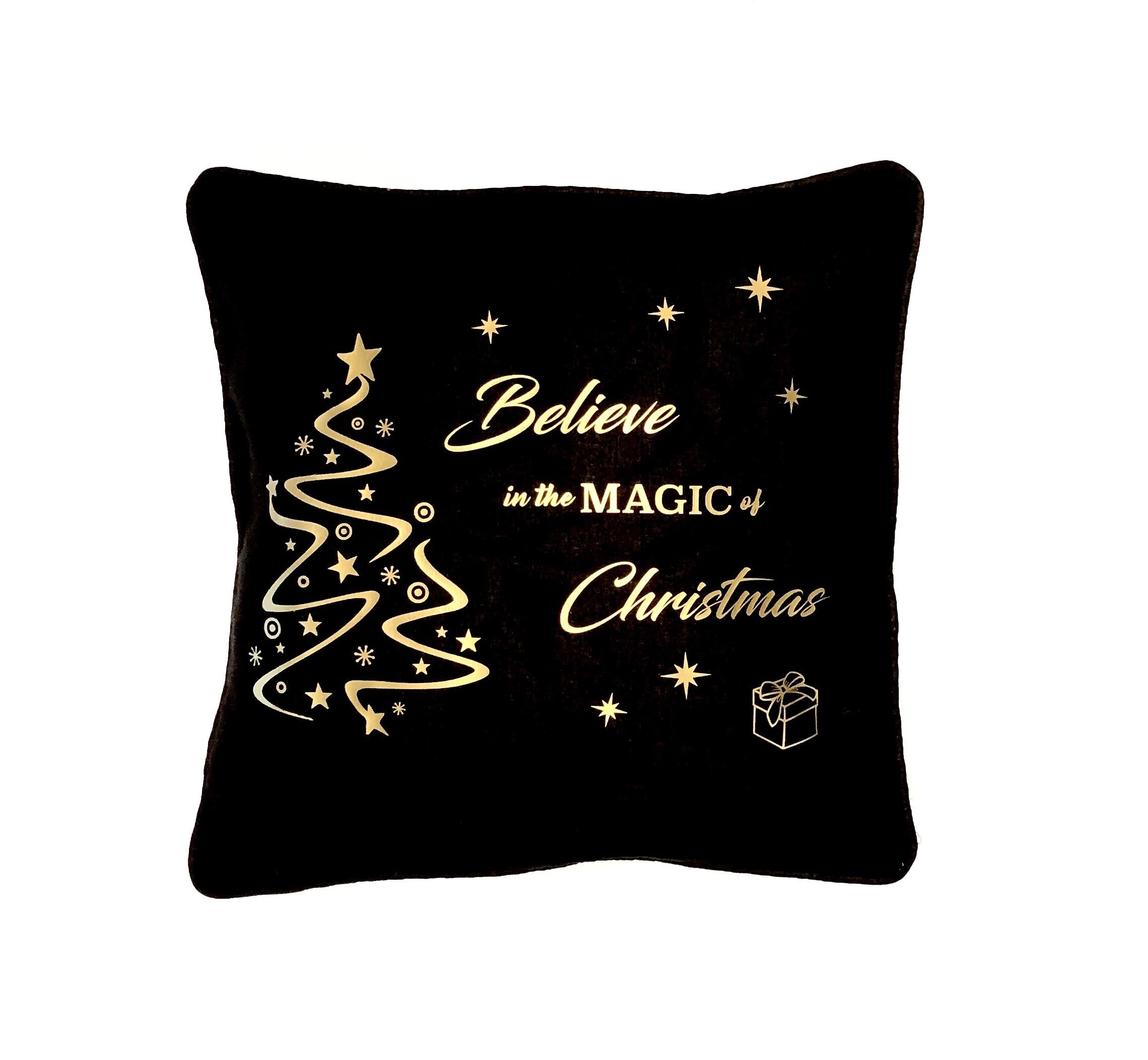 Kerstdecoratie | Kussensloop 'Believe' zwart/goud