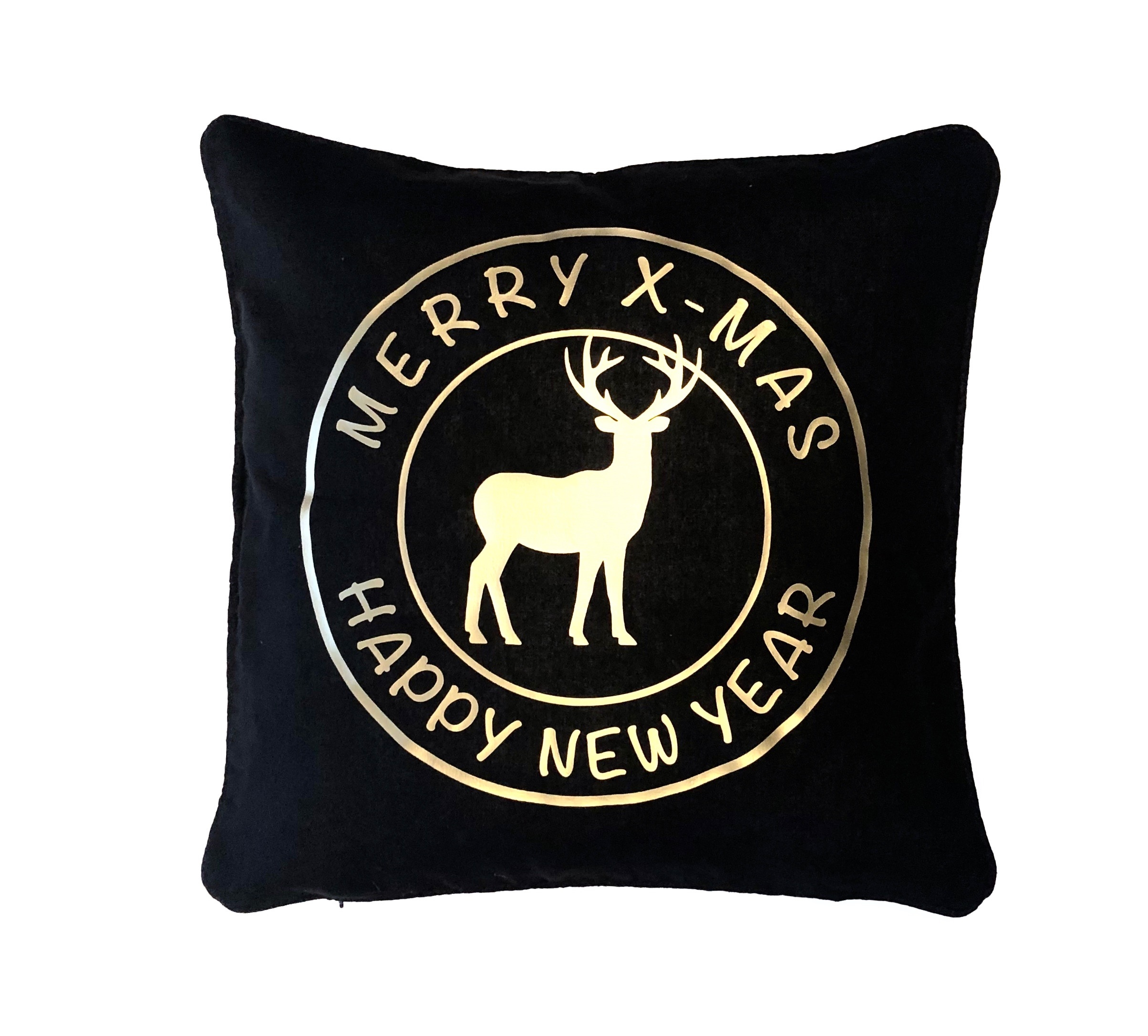 Kerstdecoratie | Kussensloop 'Merry x-mas' | zwart/goud