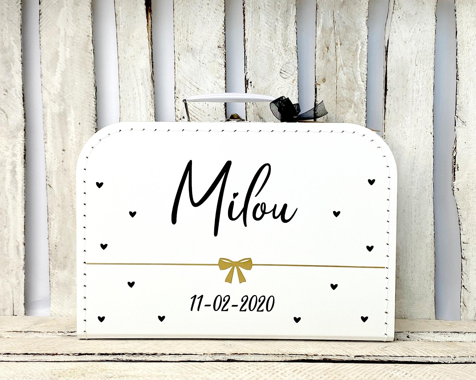 Koffertje met naam en geboortedatum zwart/goud
