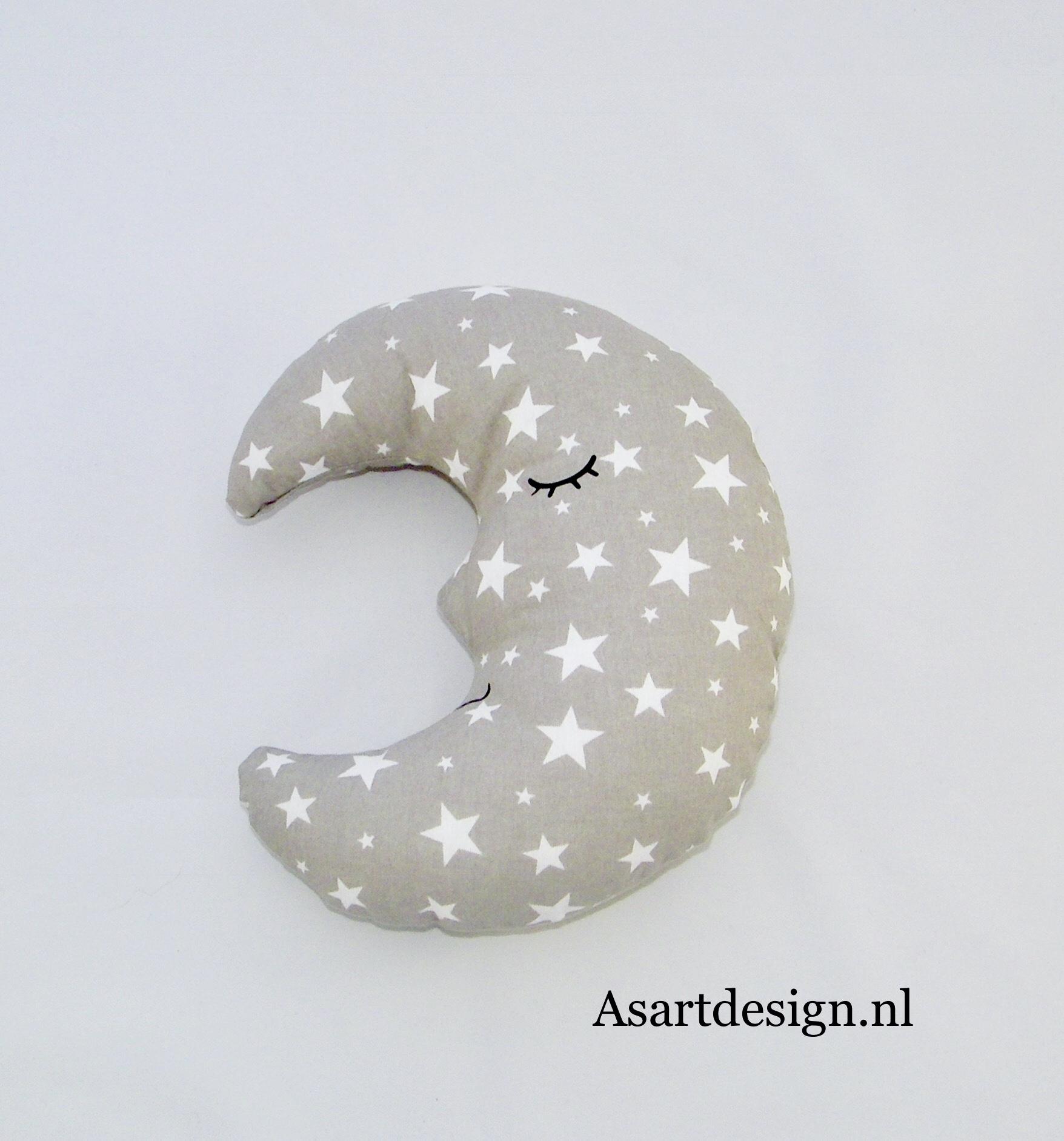Kussen maan grijs met witte sterretjes