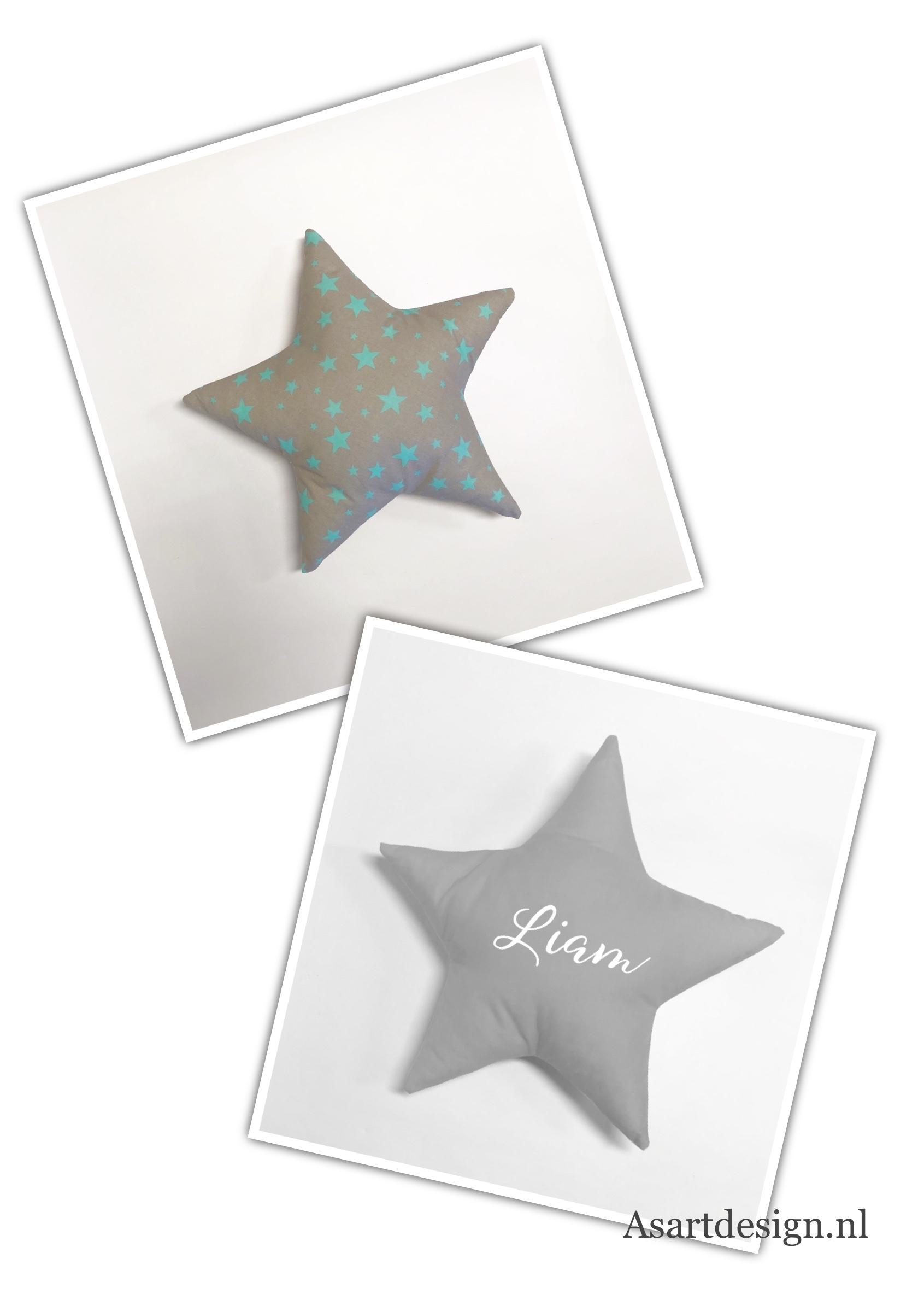 Kussen ster (grijs/groen) met naam