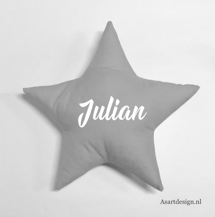 Kussen ster (grijs/wit) met naam