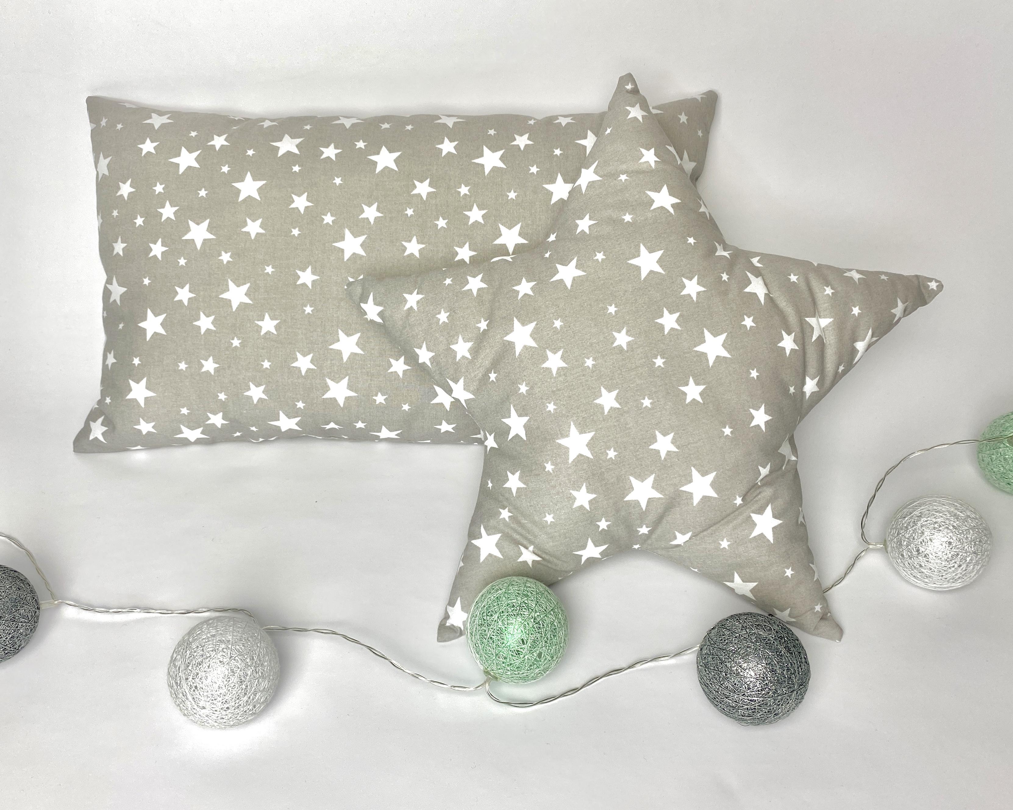 Kussen sterren grijs/wit