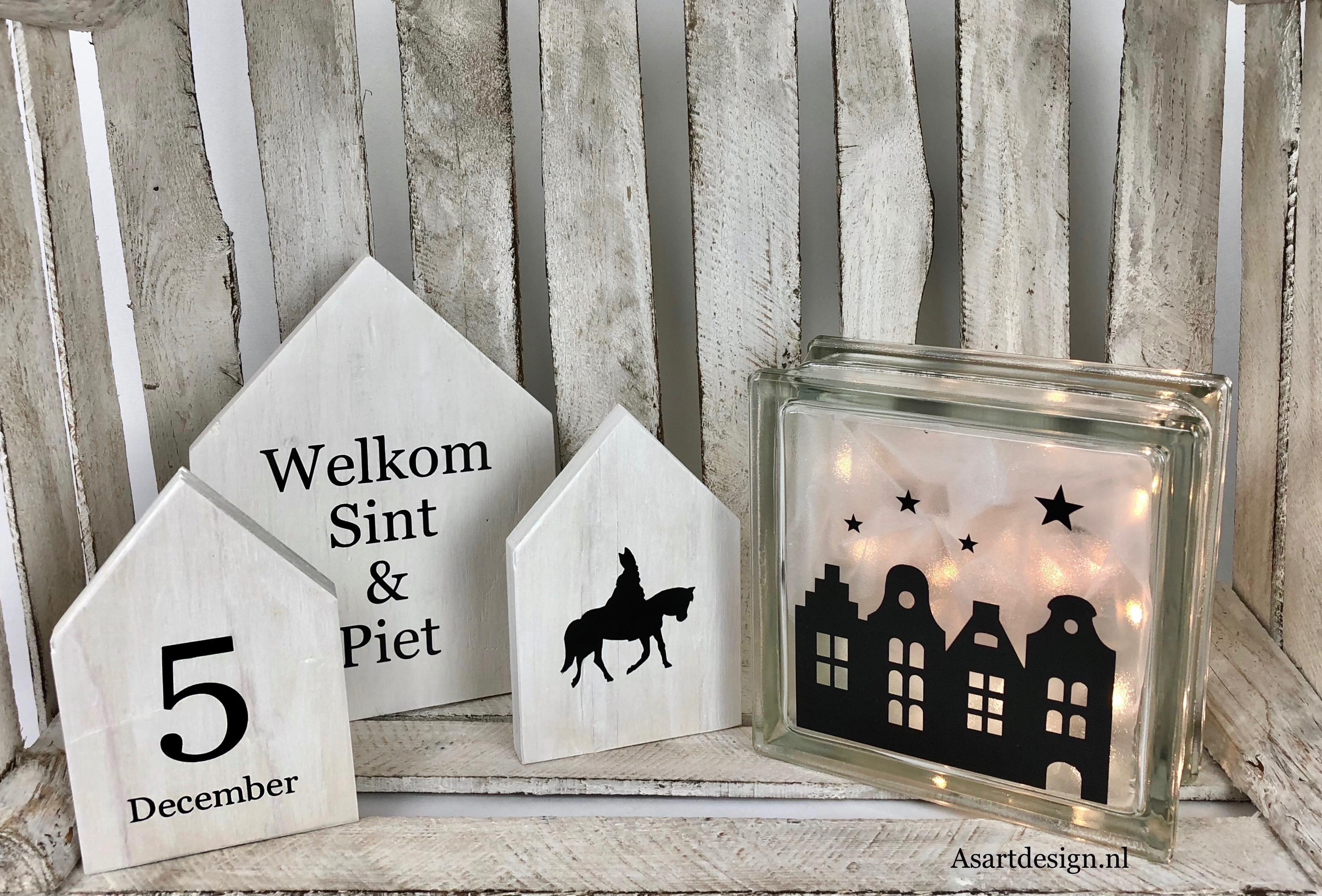 Sinterklaas decoratie |  Glasblok 'huisjes'