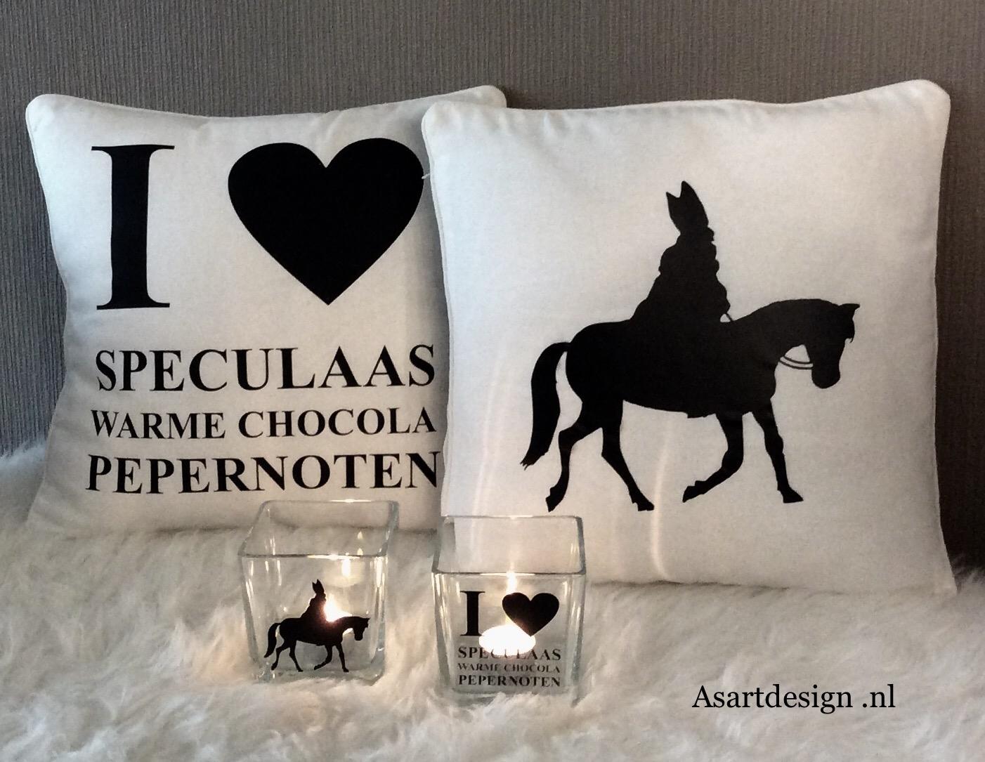 Sinterklaas decoratie /  Kussensloop met tekst (wit)