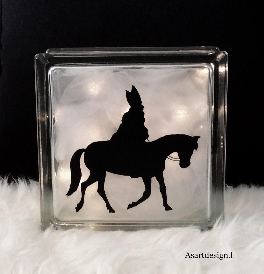 "Sinterklaas decoratie | Glasblok lamp""Sint"""