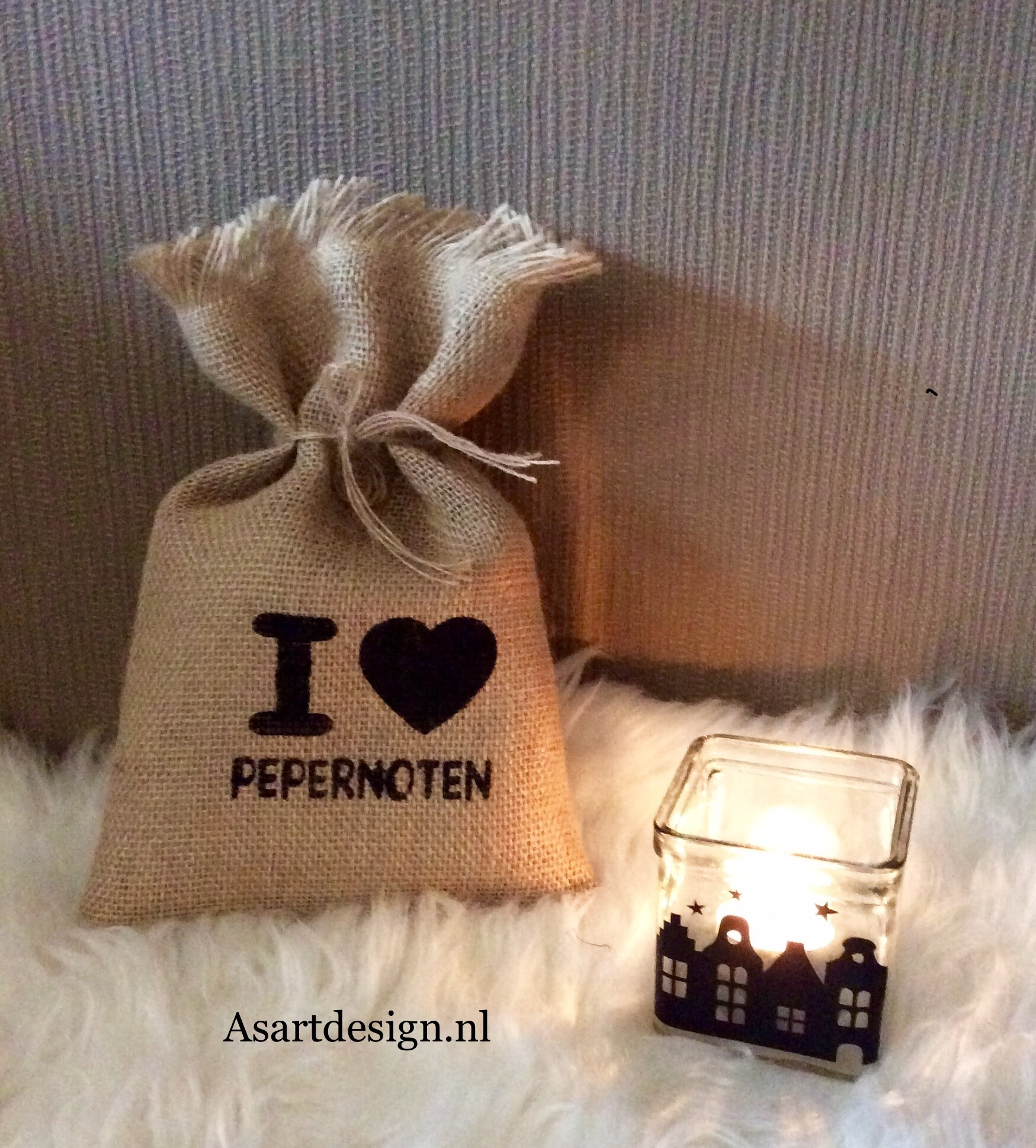 Sinterklaas decoratie | Jute zakje I LOVE PEPENOTEN