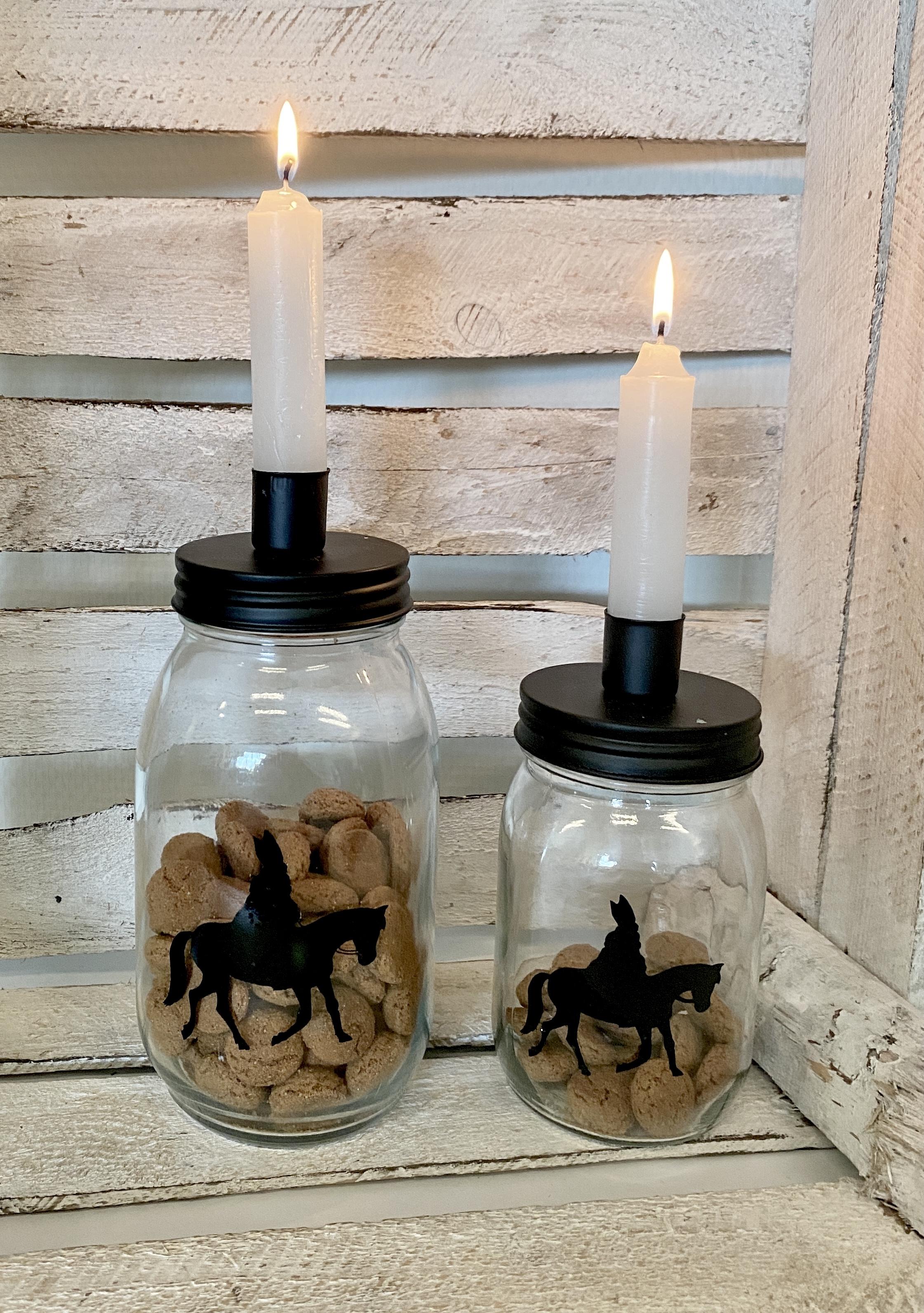 Sinterklaas decoratie | Kandelaar glazen pot Maat S