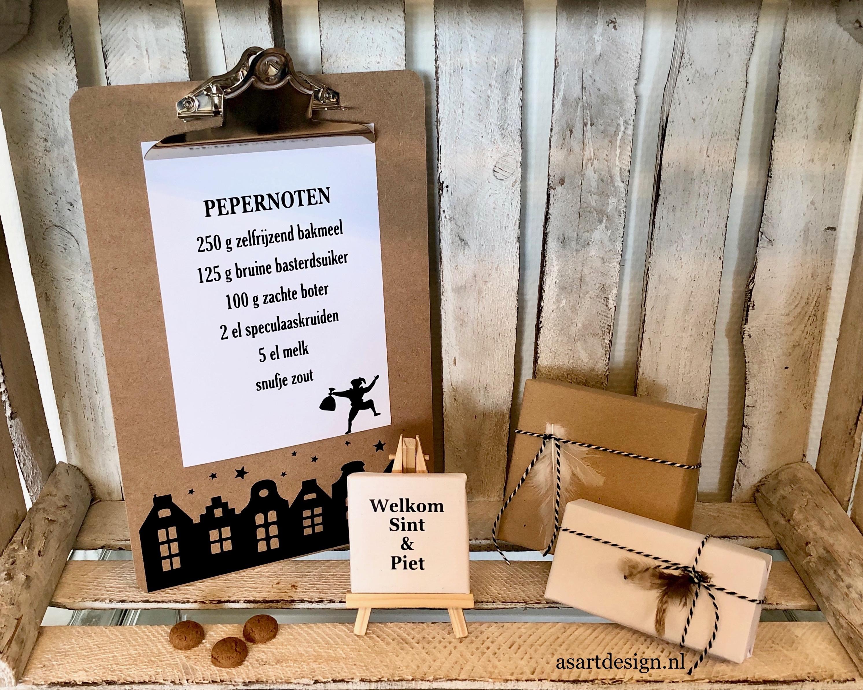 Sinterklaas decoratie | Klembord A4 met pepernoten recept