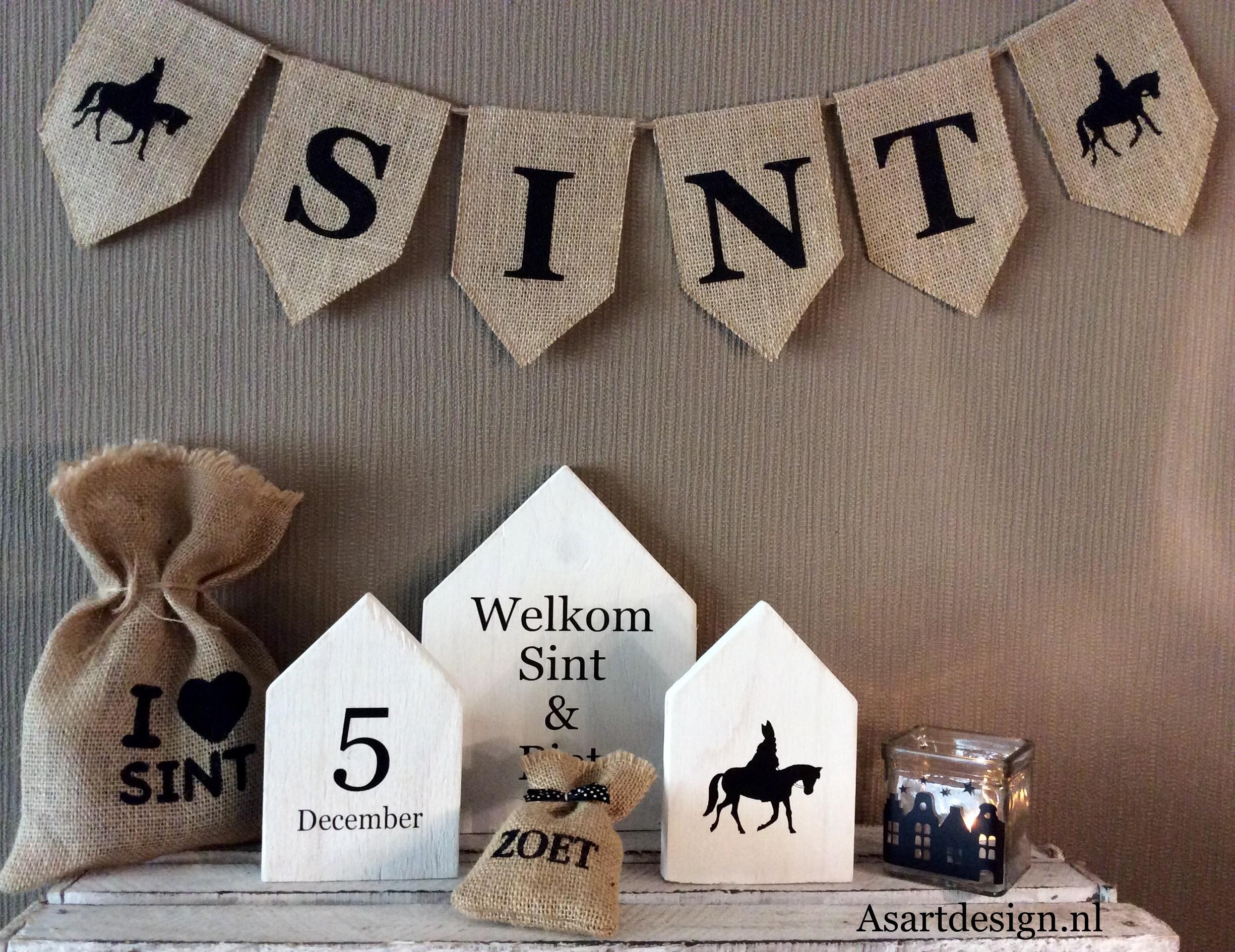 Sinterklaas decoratie | Tektstborden/huisjes (3 stuks) wit