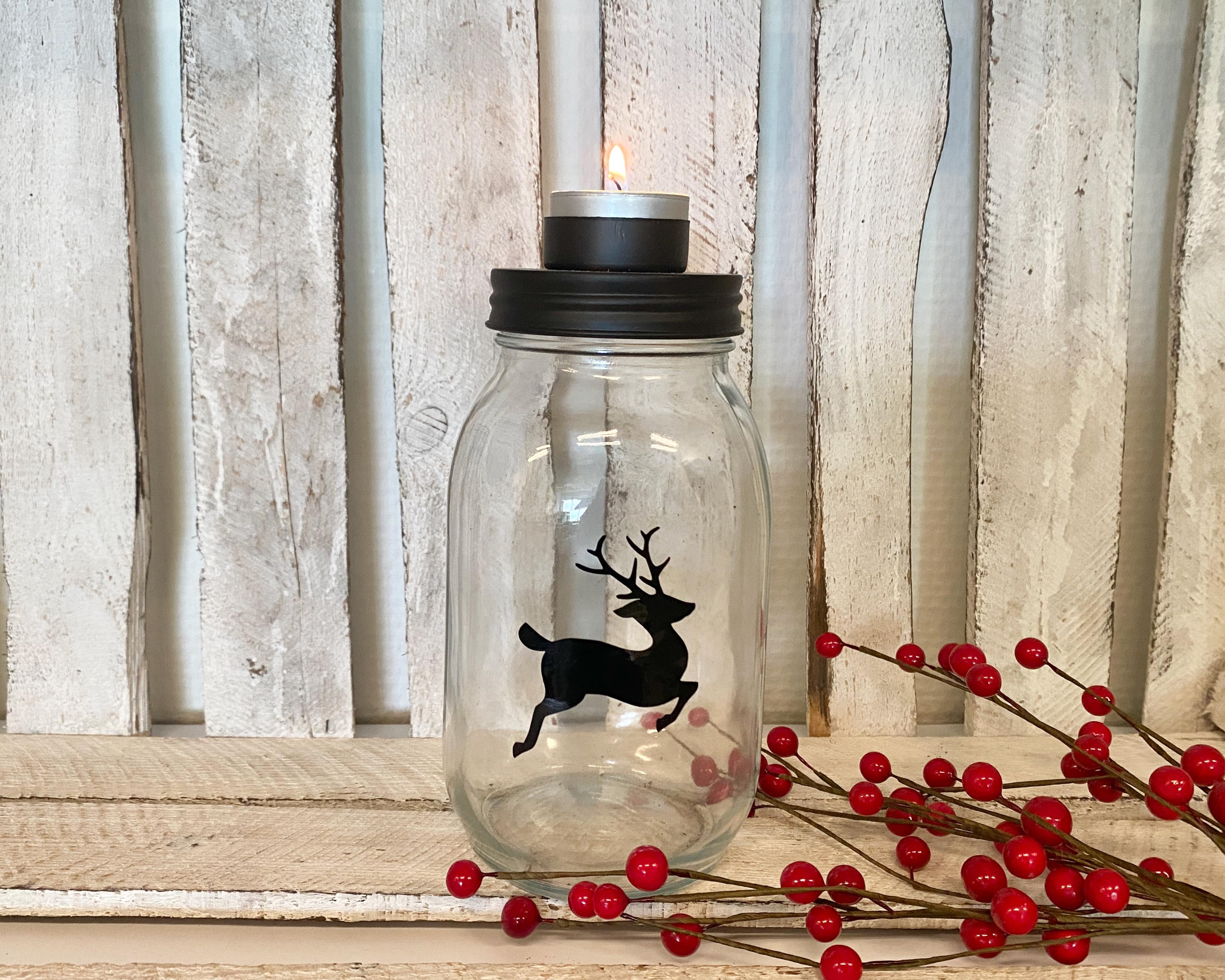 Theelichthouder glazen pot   kerstdecoratie