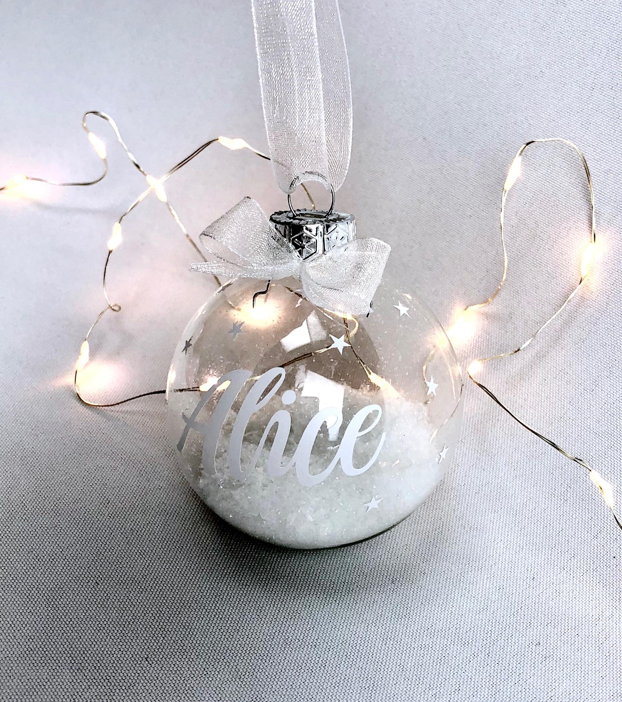 Transparante kerstbal met naam