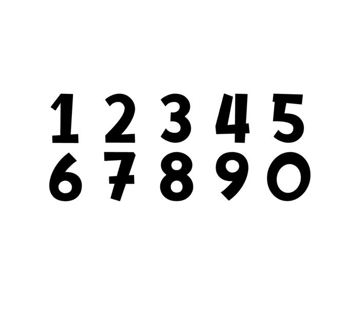 Raamsticker Cijfer set (zwart of wit)
